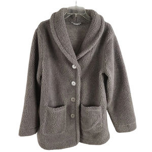 WinterSilks Teddy Bear Fleece Button Jacket Gray